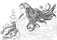 Line art of girl with coffee cup Royalty Free Stock Images