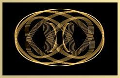 Line art golden decorative element on black background Royalty Free Stock Photography