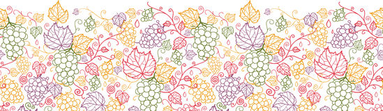 Line art grape vines horizontal seamless pattern Stock Photography