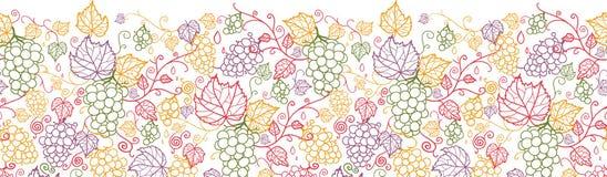 Line art grape vines horizontal seamless pattern Stock Photography