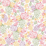 Line art grape vines seamless pattern background Royalty Free Stock Image