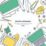 Line art.Graphic web design. Drawing and painting. Development. Illustration, sketching, freelance. User interface. UI. Line art.Graphic web design. Drawing and Royalty Free Stock Photos