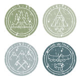 Line art grunge labels with canoe,camping,climbing Royalty Free Stock Images