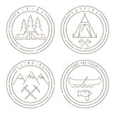 Line art grunge labels with canoe,camping,climbing Stock Photos