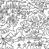 Line art Halloween seamless Stock Photography