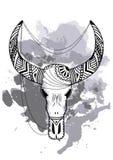 Line art hand drawing black bull skull isolated on white background with watercolor blots. Dudling style. Tatoo. Zenart. Line art hand drawing black bull skull vector illustration