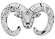 Line art hand drawing black ram isolated on white background. Dudling style. Tatoo. Zenart. Coloring for adults. Stock Images
