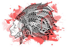 Line art hand drawing black Red Indian isolated on white background with red watercolor blots. Doodle style. Tattoo Royalty Free Stock Photos