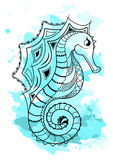 Line art hand drawing black sea horse isolated on white background with blue watercolor blots. Doodle style. Tattoo Stock Photos