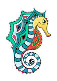 Line art hand drawing black sea horse  on white background painted multicolored with a black outline. Doodle Stock Image