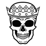 Line art hand drawing black skull with crown on had isolated on white background. Dudling style. Tatoo. Zenart. Coloring Stock Photography