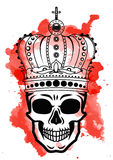 Line art hand drawing black skull with crown on had isolated on white background with red watercolor blots. Dudling Stock Image