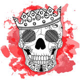 Line art hand drawing black skull with crown on had isolated on white background with red watercolor blots. Dudling Royalty Free Stock Image