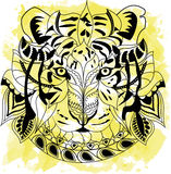 Line art hand drawing black tiger isolated on white background with yellow watercolor blots. Doodle style. Tattoo. Zenart Royalty Free Stock Photos