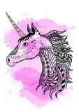 Line art hand drawing black unicorn isolated on white background with pink watercolor blots. Doodle style. Tattoo. Zenart Royalty Free Stock Image