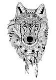 Line art hand drawing black wolf isolated on white background. Dudling style. Tatoo. Zenart. Coloring for adults. Stock Photos