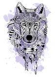 Line art hand drawing black wolf isolated on white background with watercolor blots. Doodle style. Tattoo. Zenart Stock Photography