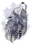 Line art hand drawing black wolf isolated on white background with watercolor blots. Doodle style. Tattoo. Zenart Royalty Free Stock Photography