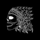 Line art hand drawing skull of Indian. Black background Stock Illustration