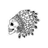 Line art hand drawing skull of Indian. White background Vector Illustration