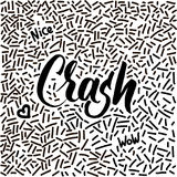 Line-art hand-drawn doodle with modern calligraphy word Crash! Royalty Free Stock Photos