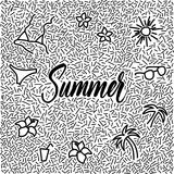 Line-art hand-drawn doodle with modern calligraphy word Summer!. Line-art hand-drawn vector doodle Stock Image