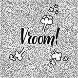 Line-art hand-drawn doodle with modern calligraphy word Vroom! Royalty Free Stock Photography