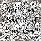 Line-art hand-drawn doodle set with modern calligraphy words Cra Royalty Free Stock Photos