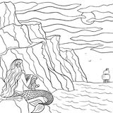 Line art hand drawn sketch dreamy mermaid on the stone and sailboat in the sea.Coloring outline illustration royalty free illustration