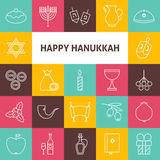 Line Art Happy Hanukkah Jewish Holiday Icons Set. Vector Collection of 25 Modern Line Icons for Web and Mobile. Israel Traditional Bundle Stock Photos