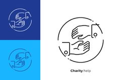 Helping hands line art vector icon. Line art helping hands. Assistance arm. Team building. Scalable vector icon in modern lineart style. outline elements vector Stock Photo