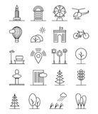 Line art house urban landscape icons. Linear trees and houses, nature city signs Stock Images