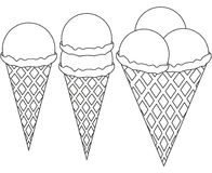 Line art ice cream 1 2 3 ball cone black and white icon set. Coloring book page for adults and kids. Summer fast food  illustration for gift card, flyer Stock Image
