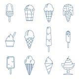 Line art icecream icons Stock Image