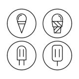 Line art icecream icons set. sweet and cold vector illustration stock illustration