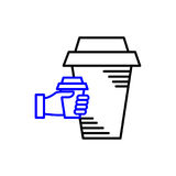 Line art icon, Coffee Cup Icon, Food Outlin Drink, Coffee icon. Vector line art icon Stock Photos