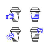 Line art icon, Coffee Cup Icon, Food Outlin Drink, Coffee icon. Vector line art icon Stock Photo