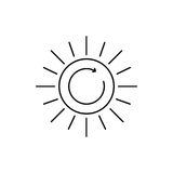 Line art icon - ecology and sun. Nature and weather sign. Sun symbol. Black flat icon. Classic design. Stock Images