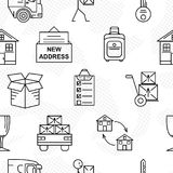 Line art icon seamless pattern for Moving. Thin line art icons. Flat style illustrations isolated. Stock Photos