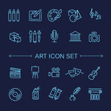 Line Art Icons. Music, theater and artistic icons Royalty Free Stock Photos