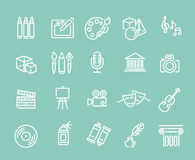 Line Art Icons. Music, theater and artistic icons Royalty Free Stock Photography