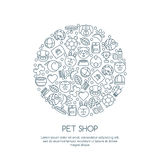 Line art illustration of cat, dog, parrot bird, turtle, snake. Goods for animals,  outline icons set. Royalty Free Stock Photo
