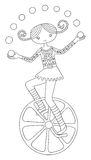 Line art illustration of circus theme - teenage Stock Images