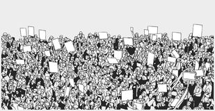Line art illustration of crowd protest with blank signs. Stylized illustration of massive crowd protest from high angle view royalty free illustration