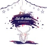 Line art Illustration of goat head, hanging moon, stars and Eid-. Al-Adha Mubarak text on texture halftone background for Muslim community, festival of sacrifice Royalty Free Stock Image