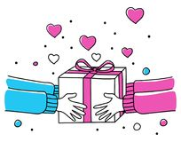 Human hands giving gift box. Line art illustration of human hands giving gift box, for Valentine`s day theme and background Royalty Free Stock Photos