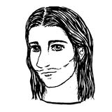 Line art illustration of Jesus face by hand drawn Royalty Free Stock Photography
