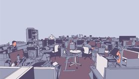 Illustration of large studio office, creative work place with people workers in perspective vector illustration