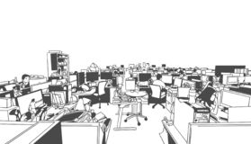 Illustration of large studio office, creative work place with people workers in perspective stock illustration