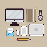 Line art illustration outline icon of laptop screen monitor book watches pencil email. Mouse and gadget Stock Photos